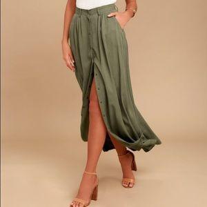 Pistols olive green denim skirt